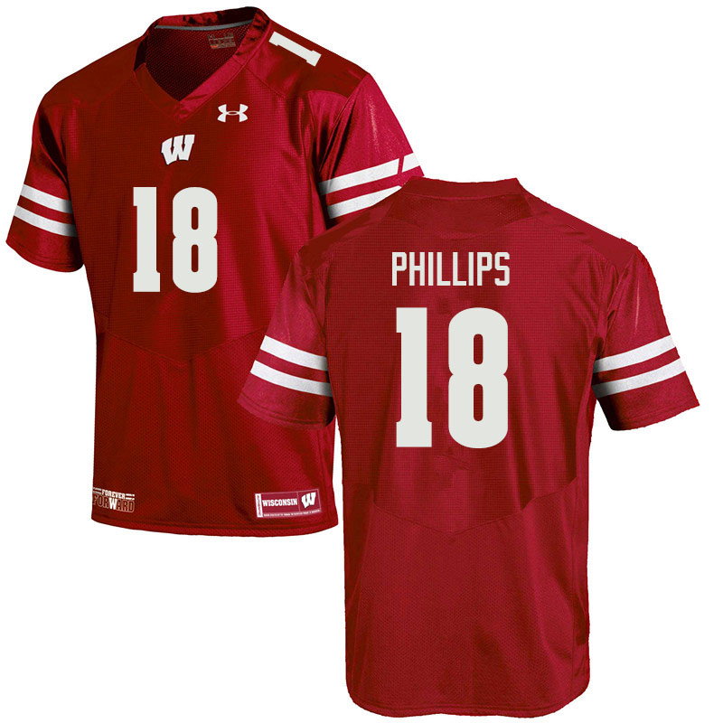Men #18 Cam Phillips Wisconsin Badgers College Football Jerseys Sale-Red